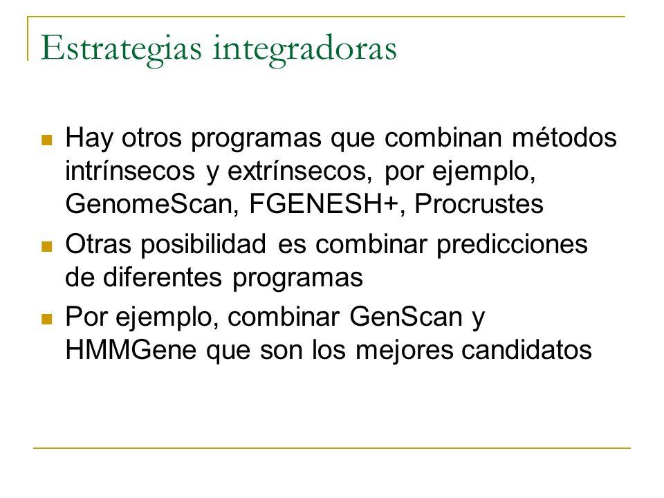 Hay otros programas que combinan métodos intrínsecos y extrínsecos, por ejemplo, GenomeScan, FGENESH+, Procrustes Otras posibilidad es combinar predic