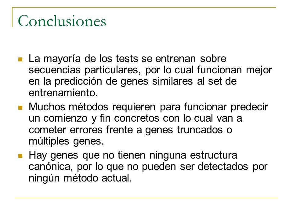 Conclusiones La mayoría de los tests se entrenan sobre secuencias particulares, por lo cual funcionan mejor en la predicción de genes similares al set