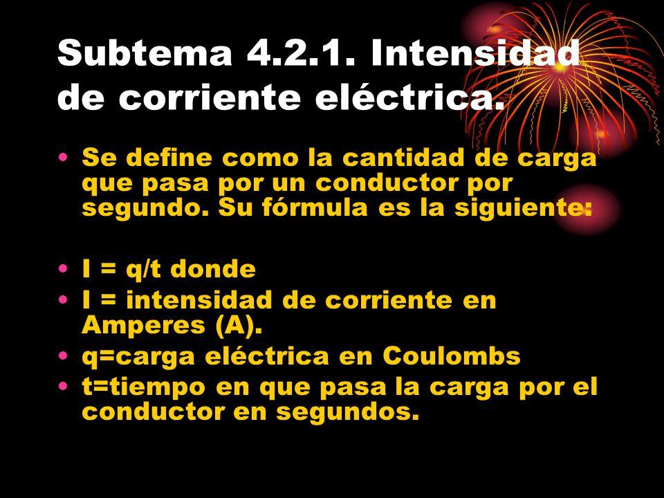 Subtema 4.2.1. Intensidad de corriente eléctrica. Se define como la cantidad de carga que pasa por un conductor por segundo. Su fórmula es la siguient