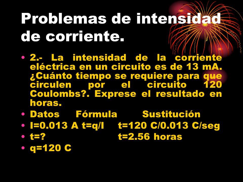 Problemas de intensidad de corriente. 2.- La intensidad de la corriente eléctrica en un circuito es de 13 mA. ¿Cuánto tiempo se requiere para que circ