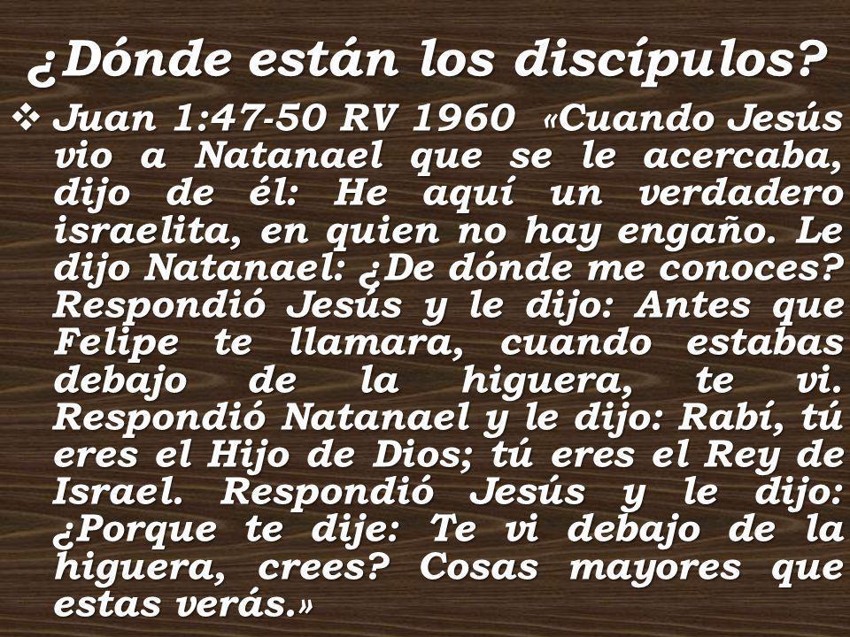 ¿Dónde están los discípulos? Juan 1:47-50 RV 1960 «Cuando Jesús vio a Natanael que se le acercaba, dijo de él: He aquí un verdadero israelita, en quie