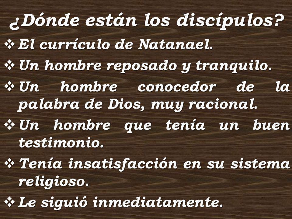 ¿Dónde están los discípulos? El currículo de Natanael. El currículo de Natanael. Un hombre reposado y tranquilo. Un hombre reposado y tranquilo. Un ho