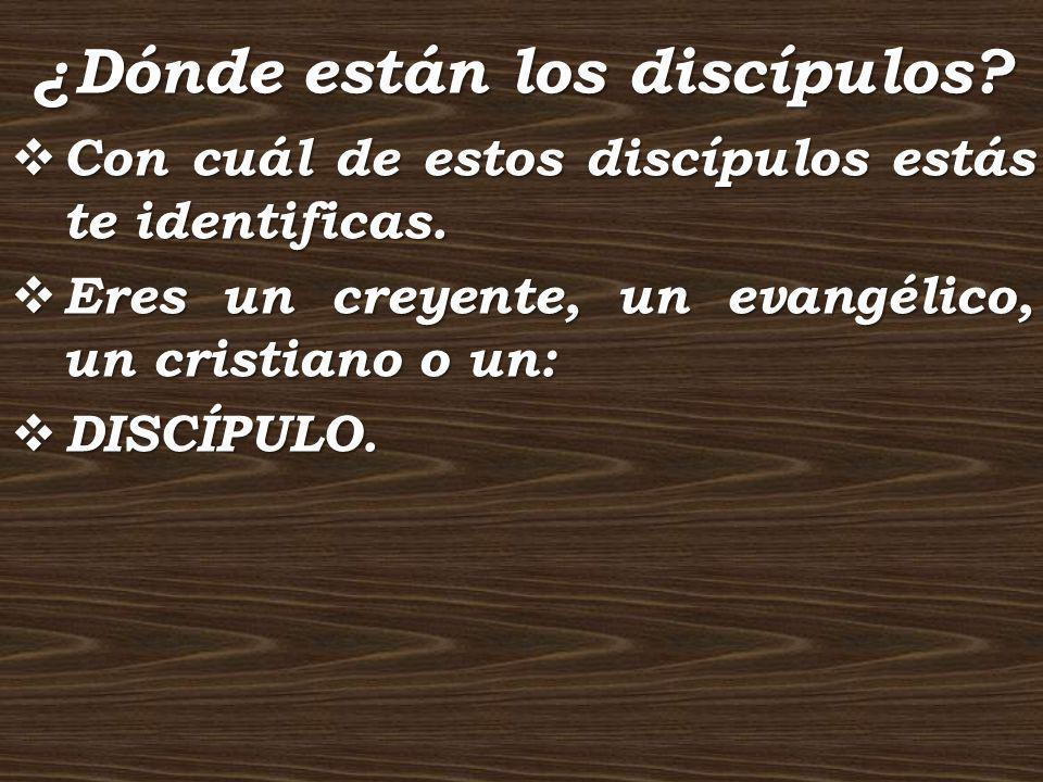 ¿Dónde están los discípulos? Con cuál de estos discípulos estás te identificas. Eres un creyente, un evangélico, un cristiano o un: DISCÍPULO.