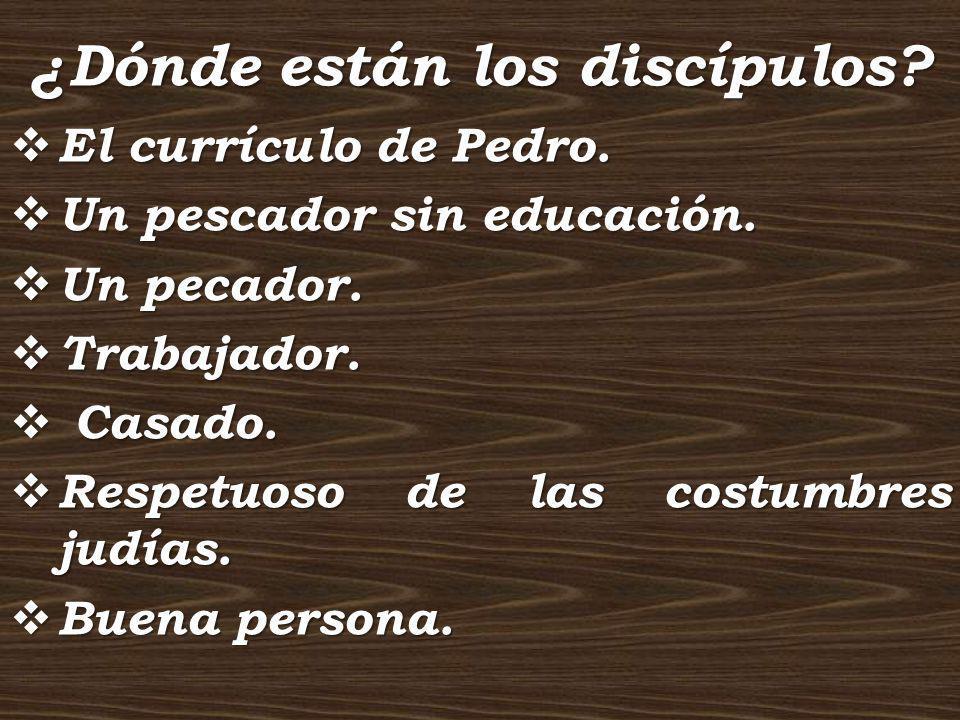 ¿Dónde están los discípulos? El currículo de Pedro. El currículo de Pedro. Un pescador sin educación. Un pescador sin educación. Un pecador. Un pecado