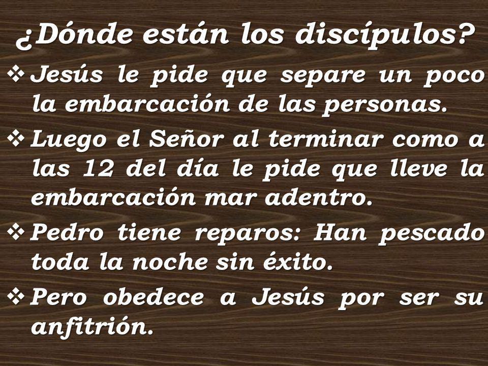 ¿Dónde están los discípulos? Jesús le pide que separe un poco la embarcación de las personas. Jesús le pide que separe un poco la embarcación de las p
