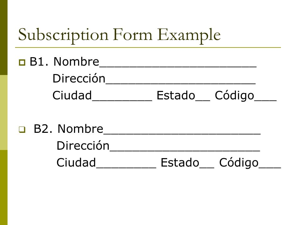 Subscription Form Example B1.