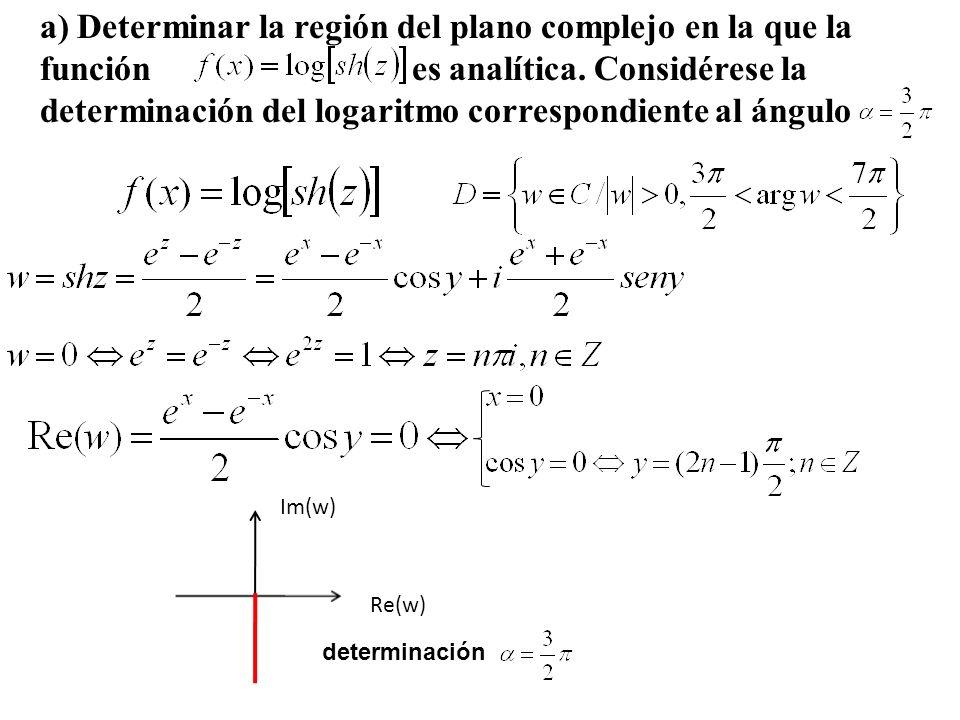 Re(w) Im(w) a) Determinar la región del plano complejo en la que la función es analítica. Considérese la determinación del logaritmo correspondiente a
