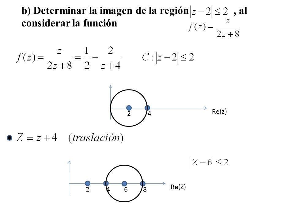 Re(z) 24 Re(Z) 24 68 b) Determinar la imagen de la región, al considerar la función