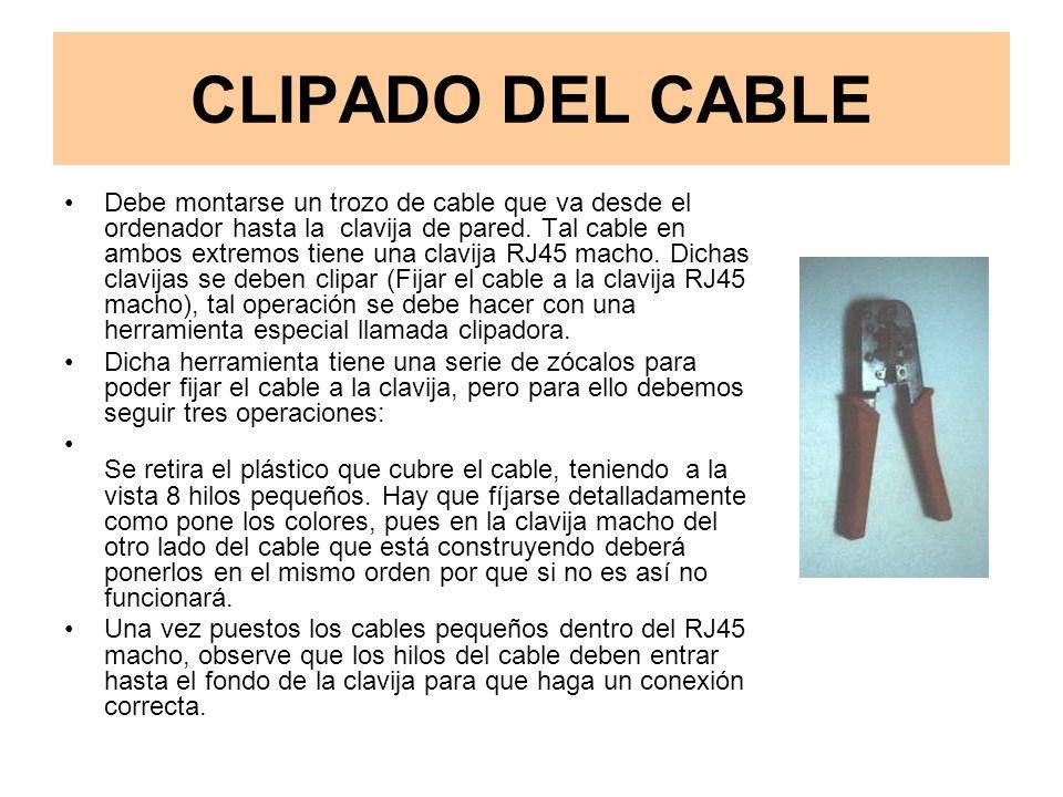CLIPADO DEL CABLE Debe montarse un trozo de cable que va desde el ordenador hasta la clavija de pared.