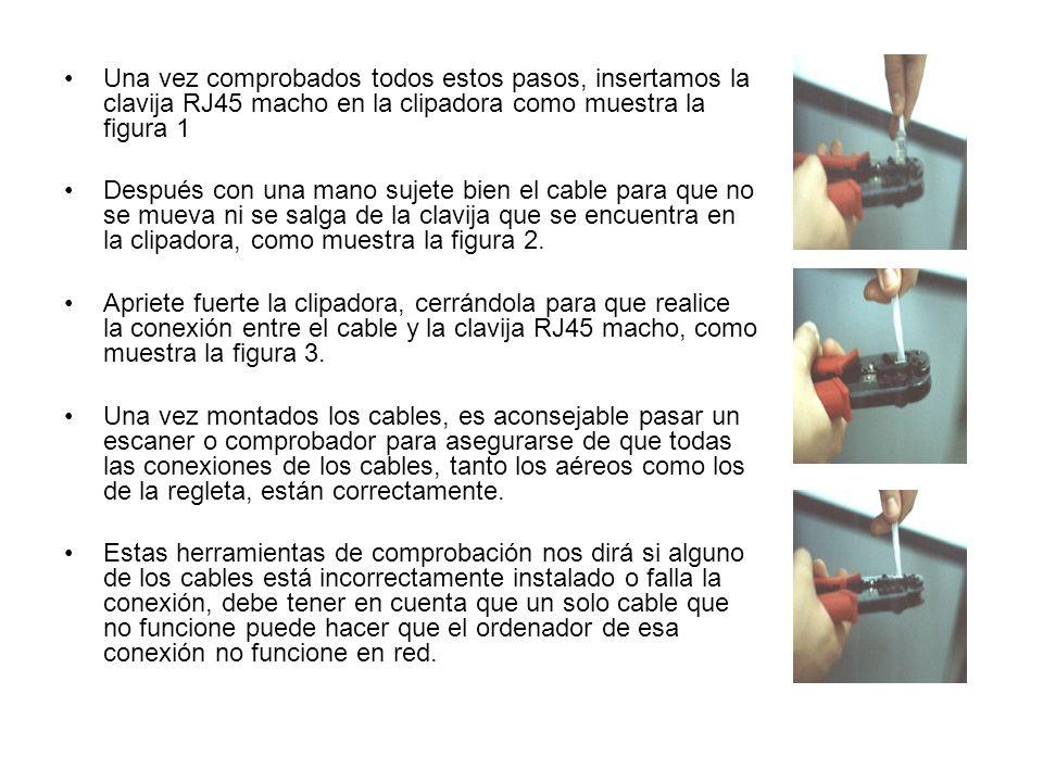 Una vez comprobados todos estos pasos, insertamos la clavija RJ45 macho en la clipadora como muestra la figura 1 Después con una mano sujete bien el cable para que no se mueva ni se salga de la clavija que se encuentra en la clipadora, como muestra la figura 2.