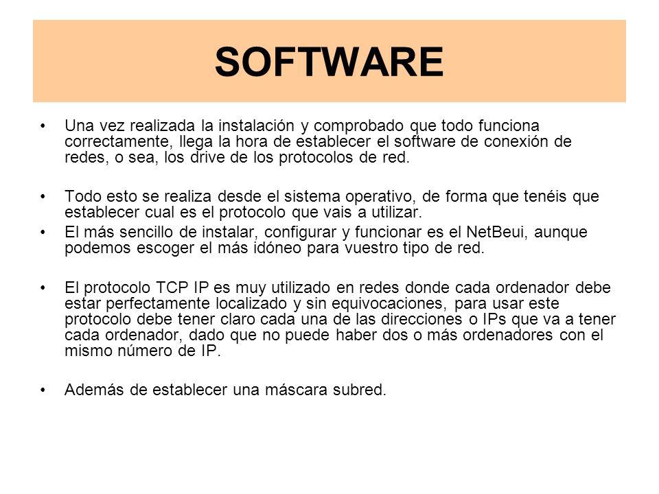 SOFTWARE Una vez realizada la instalación y comprobado que todo funciona correctamente, llega la hora de establecer el software de conexión de redes, o sea, los drive de los protocolos de red.