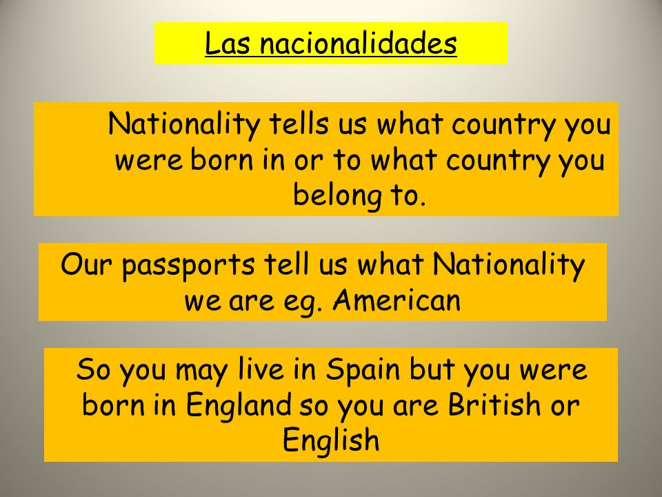 Las nacionalidades Nationality tells us what country you were born in or to what country you belong to.