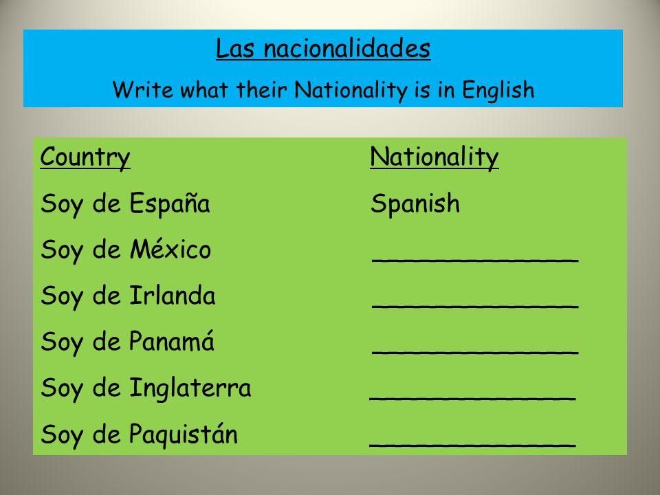 Escribir Rellena los blancos 1.Soy de Chile y soy chileno.