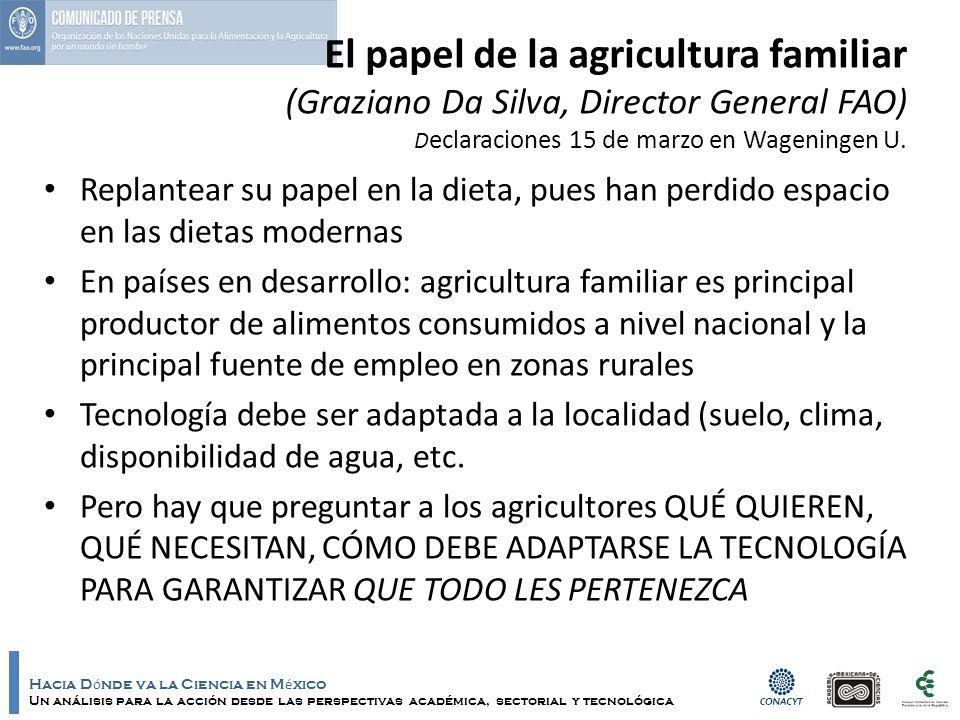 Hacia D ó nde va la Ciencia en M é xico Un análisis para la acción desde las perspectivas académica, sectorial y tecnológica El papel de la agricultur