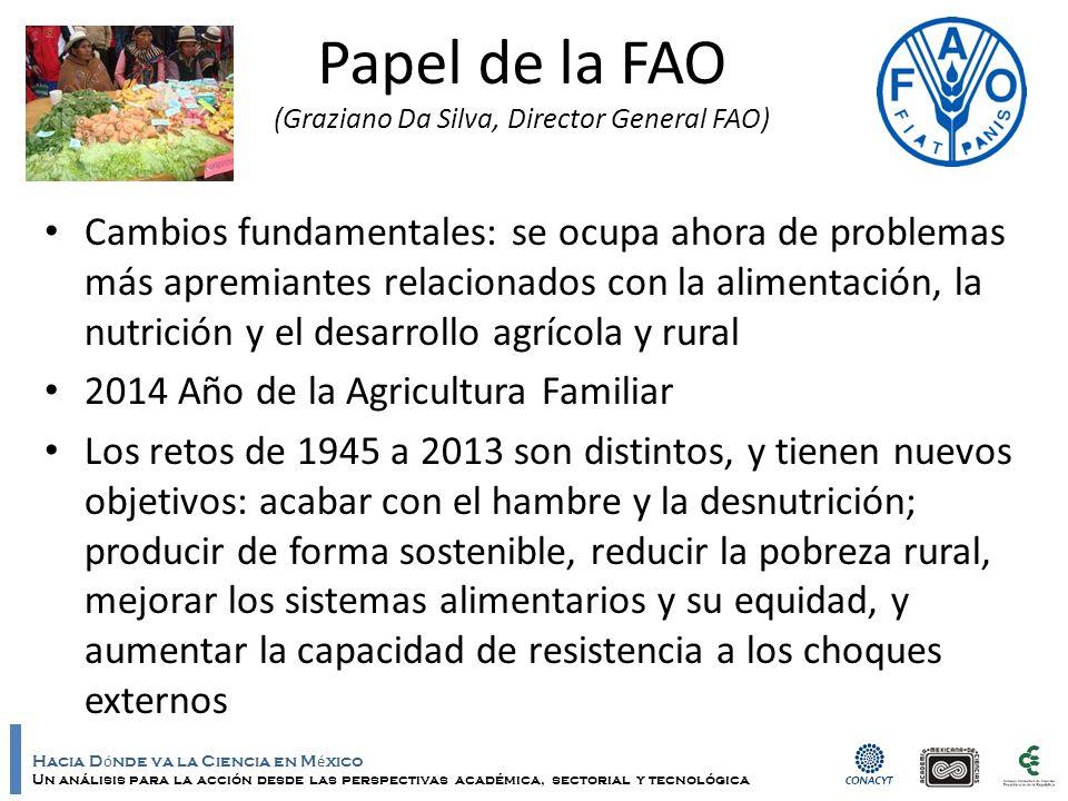 Hacia D ó nde va la Ciencia en M é xico Un análisis para la acción desde las perspectivas académica, sectorial y tecnológica Papel de la FAO (Graziano