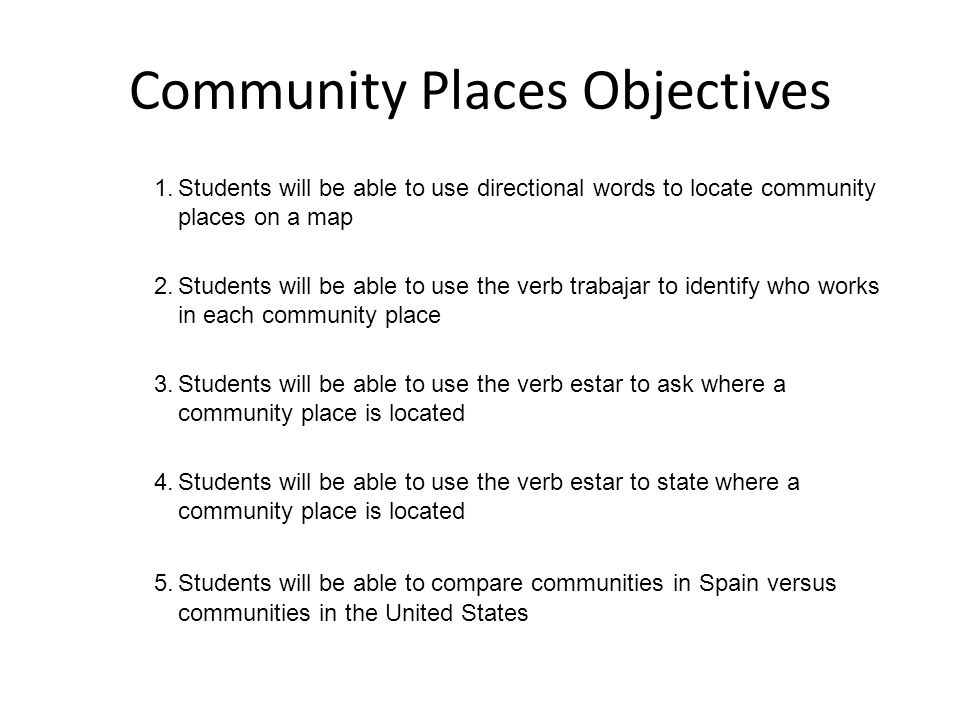 Community Places Objectives 1.Students will be able to use directional words to locate community places on a map 2.Students will be able to use the ve