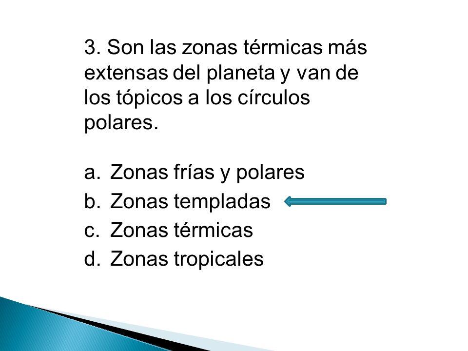4.Zonas térmicas que van desde los círculos polares hasta los polos.