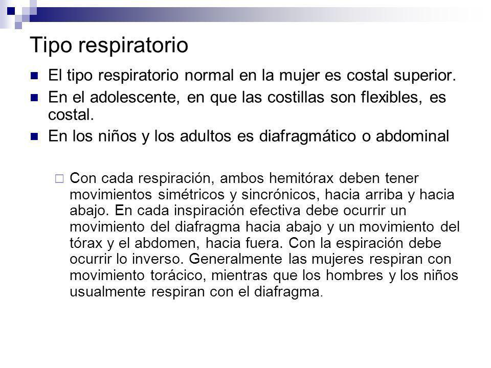Tipo respiratorio El tipo respiratorio normal en la mujer es costal superior. En el adolescente, en que las costillas son flexibles, es costal. En los