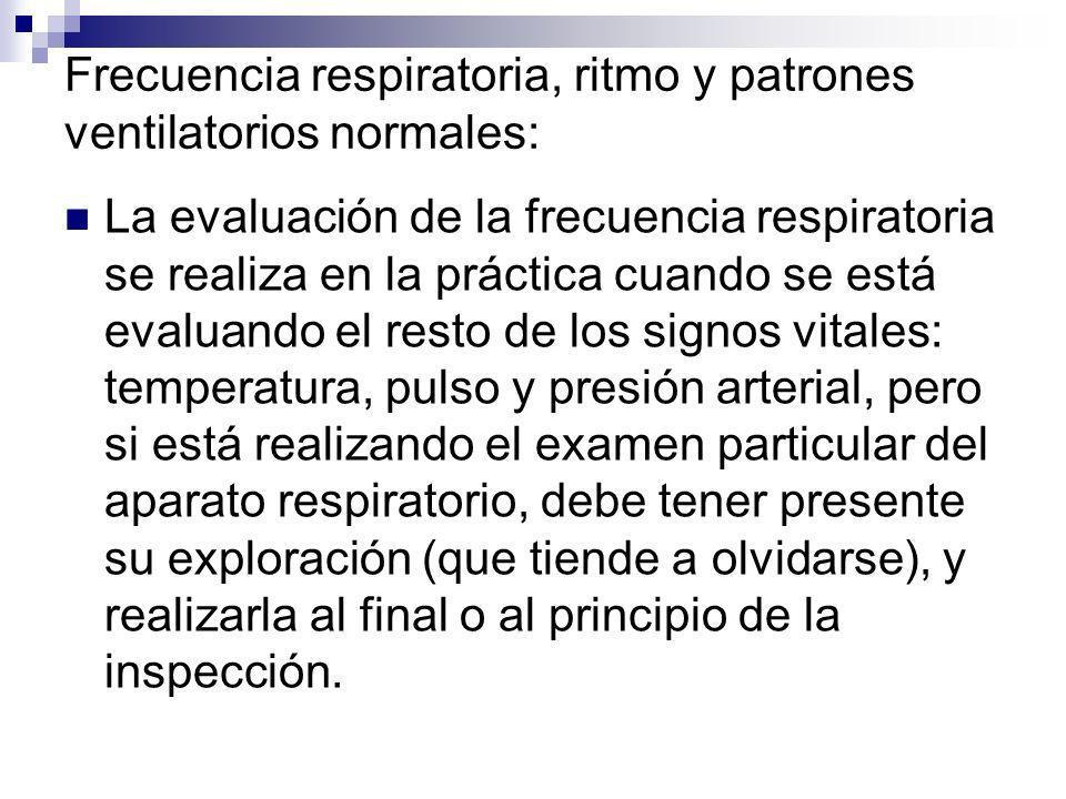 Frecuencia respiratoria, ritmo y patrones ventilatorios normales: La evaluación de la frecuencia respiratoria se realiza en la práctica cuando se está