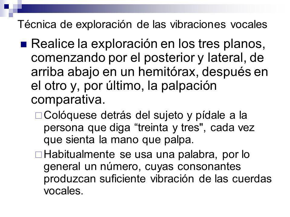 Técnica de exploración de las vibraciones vocales Realice la exploración en los tres planos, comenzando por el posterior y lateral, de arriba abajo en