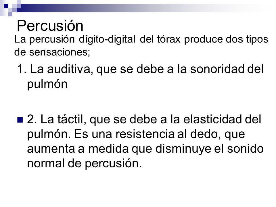 Percusión 1. La auditiva, que se debe a la sonoridad del pulmón 2. La táctil, que se debe a la elasticidad del pulmón. Es una resistencia al dedo, que