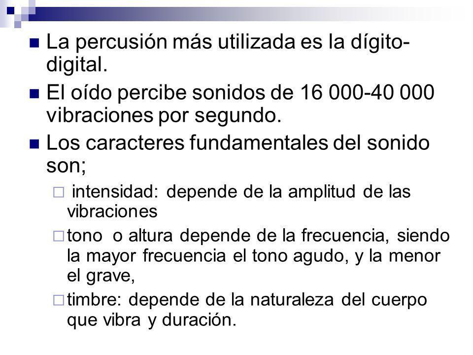 La percusión más utilizada es la dígito- digital. El oído percibe sonidos de 16 000-40 000 vibraciones por segundo. Los caracteres fundamentales del s