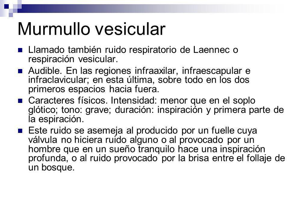 Murmullo vesicular Llamado también ruido respiratorio de Laennec o respiración vesicular. Audible. En las regiones infraaxilar, infraescapular e infra