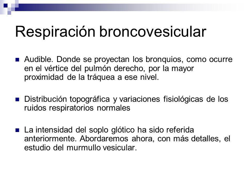 Respiración broncovesicular Audible. Donde se proyectan los bronquios, como ocurre en el vértice del pulmón derecho, por la mayor proximidad de la trá