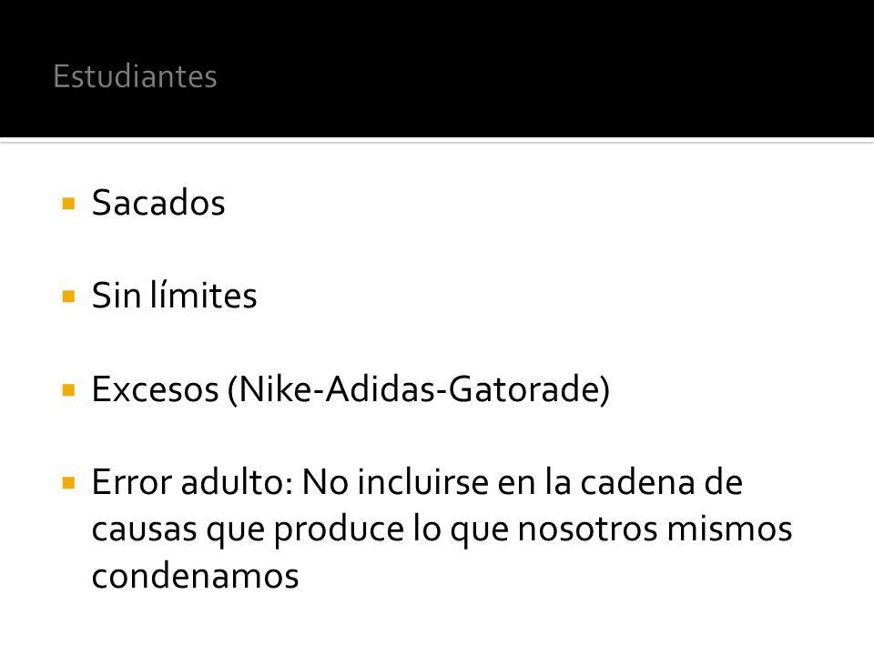 Sacados Sin límites Excesos (Nike-Adidas-Gatorade) Error adulto: No incluirse en la cadena de causas que produce lo que nosotros mismos condenamos