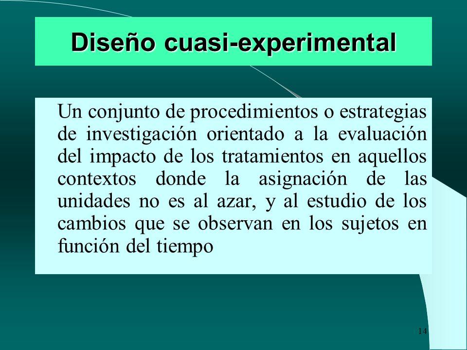 14 Diseño cuasi-experimental Un conjunto de procedimientos o estrategias de investigación orientado a la evaluación del impacto de los tratamientos en