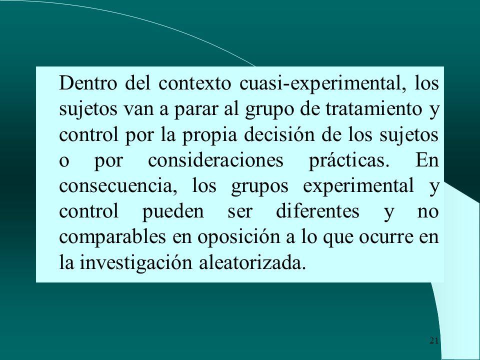 21 Dentro del contexto cuasi-experimental, los sujetos van a parar al grupo de tratamiento y control por la propia decisión de los sujetos o por consi