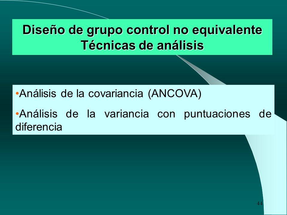 44 Diseño de grupo control no equivalente Técnicas de análisis Análisis de la covariancia (ANCOVA) Análisis de la variancia con puntuaciones de difere