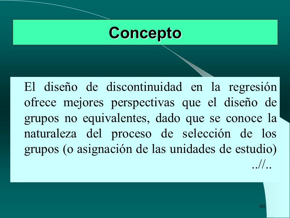 60 Concepto El diseño de discontinuidad en la regresión ofrece mejores perspectivas que el diseño de grupos no equivalentes, dado que se conoce la nat