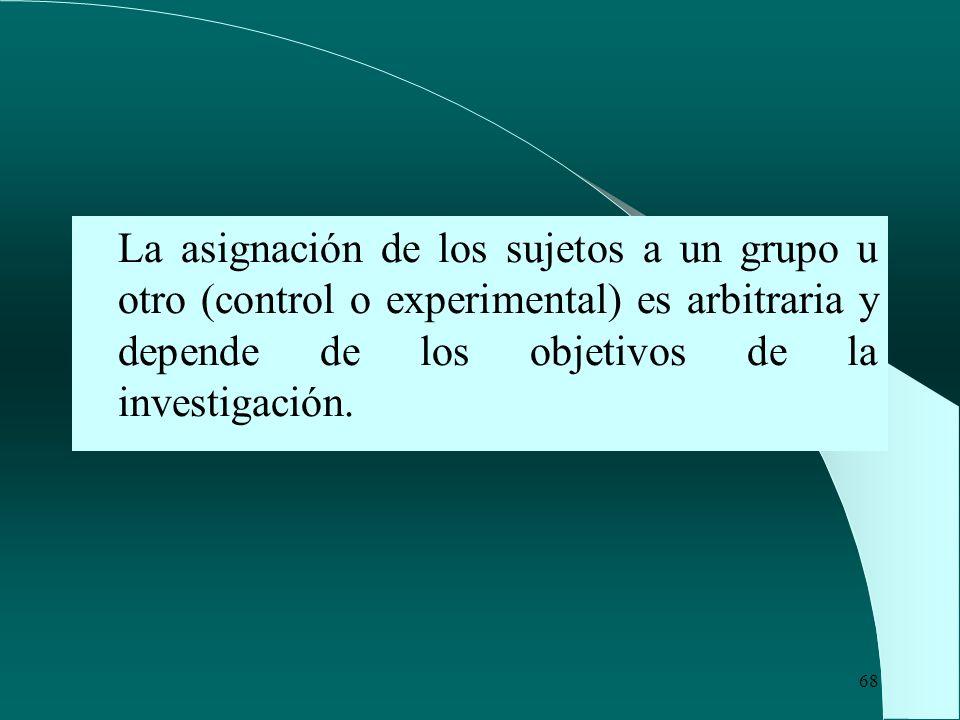 68 La asignación de los sujetos a un grupo u otro (control o experimental) es arbitraria y depende de los objetivos de la investigación.