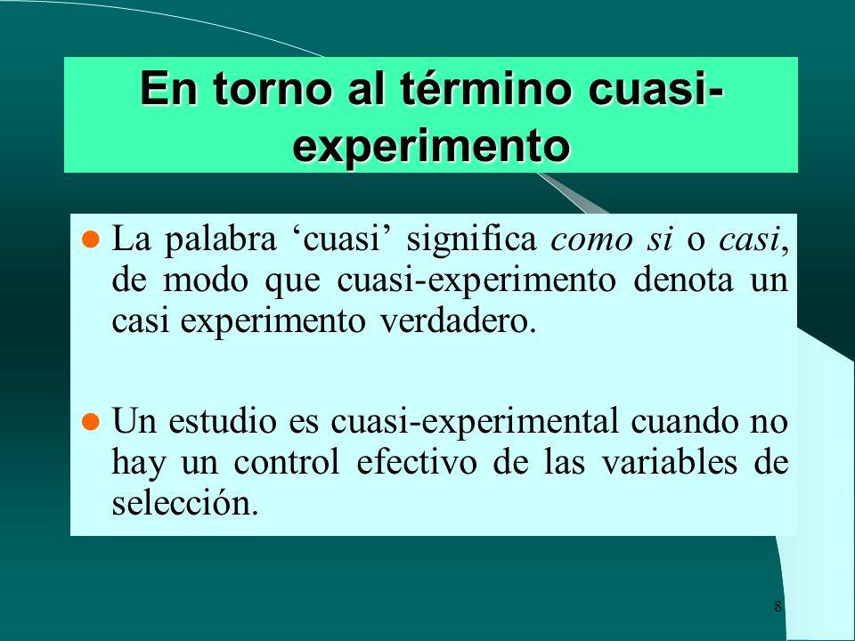 8 En torno al término cuasi- experimento La palabra cuasi significa como si o casi, de modo que cuasi-experimento denota un casi experimento verdadero
