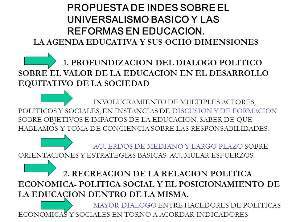 PROPUESTA DE INDES SOBRE EL UNIVERSALISMO BASICO Y LAS REFORMAS EN EDUCACION. LA AGENDA EDUCATIVA Y SUS OCHO DIMENSIONES 1. PROFUNDIZACION DEL DIALOGO
