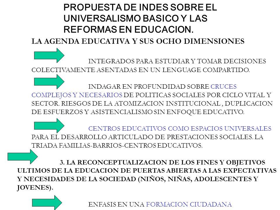 PROPUESTA DE INDES SOBRE EL UNIVERSALISMO BASICO Y LAS REFORMAS EN EDUCACION. LA AGENDA EDUCATIVA Y SUS OCHO DIMENSIONES INTEGRADOS PARA ESTUDIAR Y TO