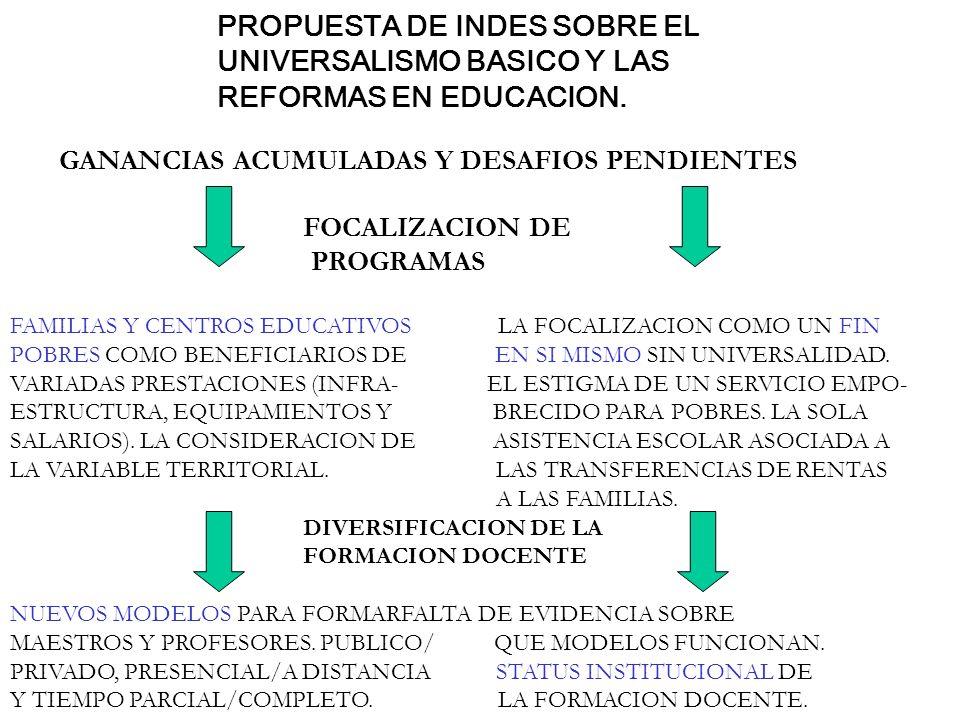 PROPUESTA DE INDES SOBRE EL UNIVERSALISMO BASICO Y LAS REFORMAS EN EDUCACION. GANANCIAS ACUMULADAS Y DESAFIOS PENDIENTES FOCALIZACION DE PROGRAMAS FAM