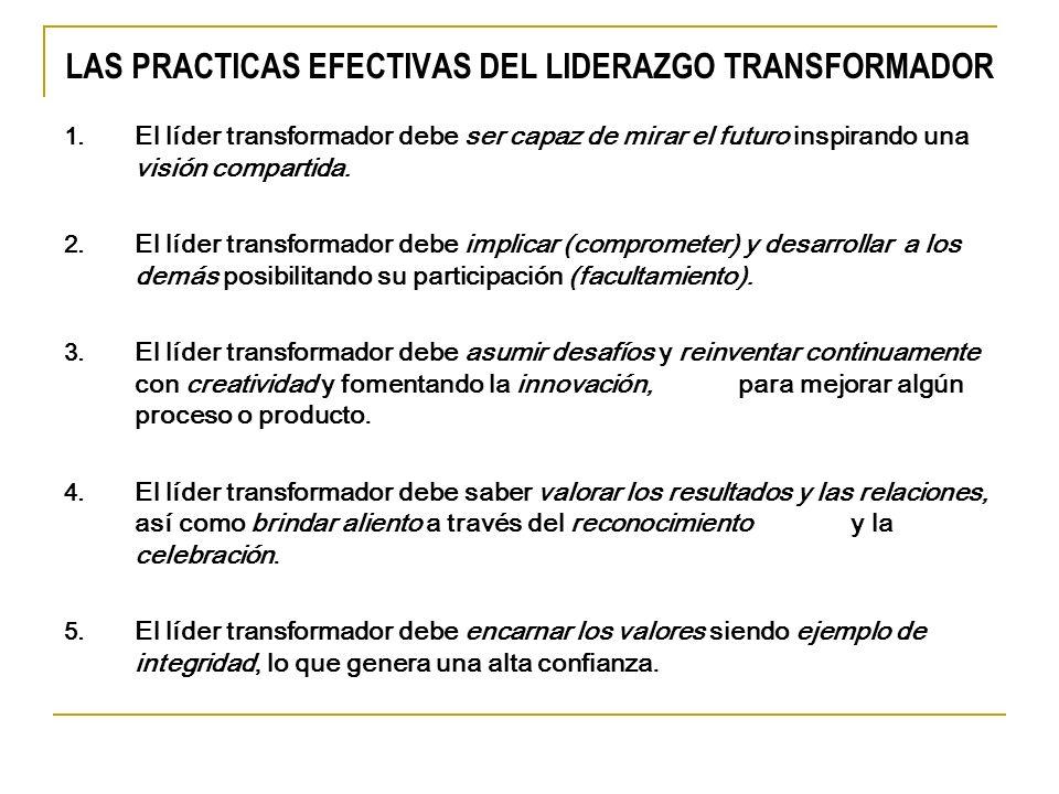 LAS PRACTICAS EFECTIVAS DEL LIDERAZGO TRANSFORMADOR El líder transformador debe ser capaz de mirar el futuro inspirando una visión compartida. El líde