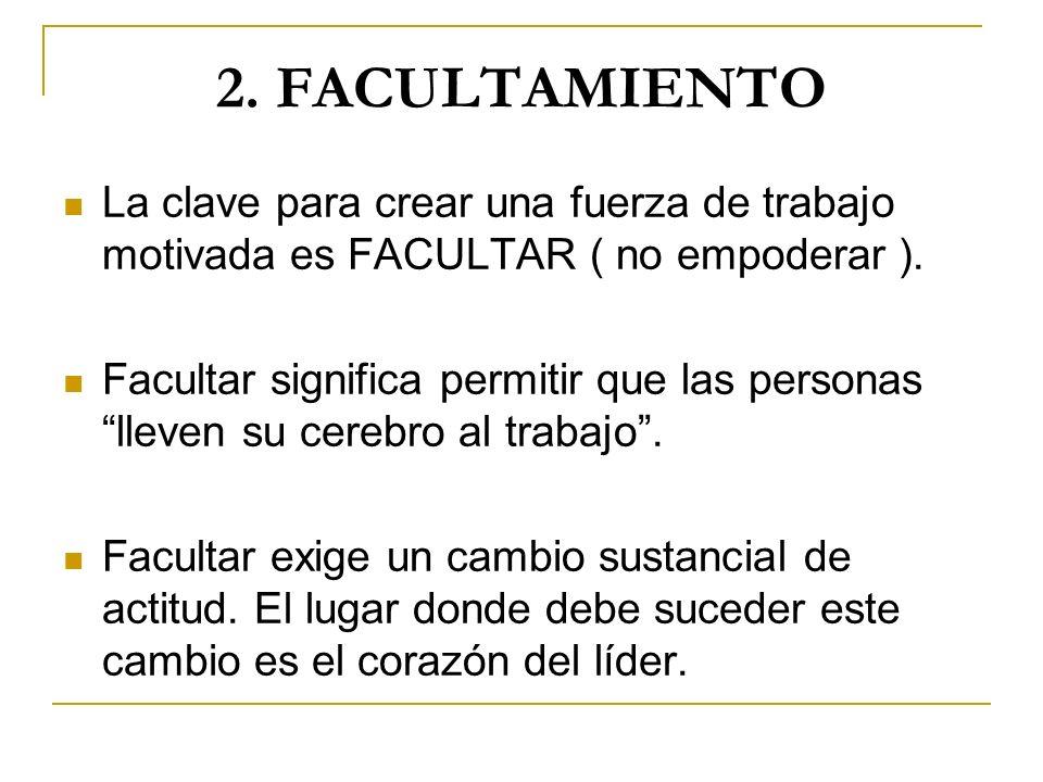 2. FACULTAMIENTO La clave para crear una fuerza de trabajo motivada es FACULTAR ( no empoderar ). Facultar significa permitir que las personas lleven