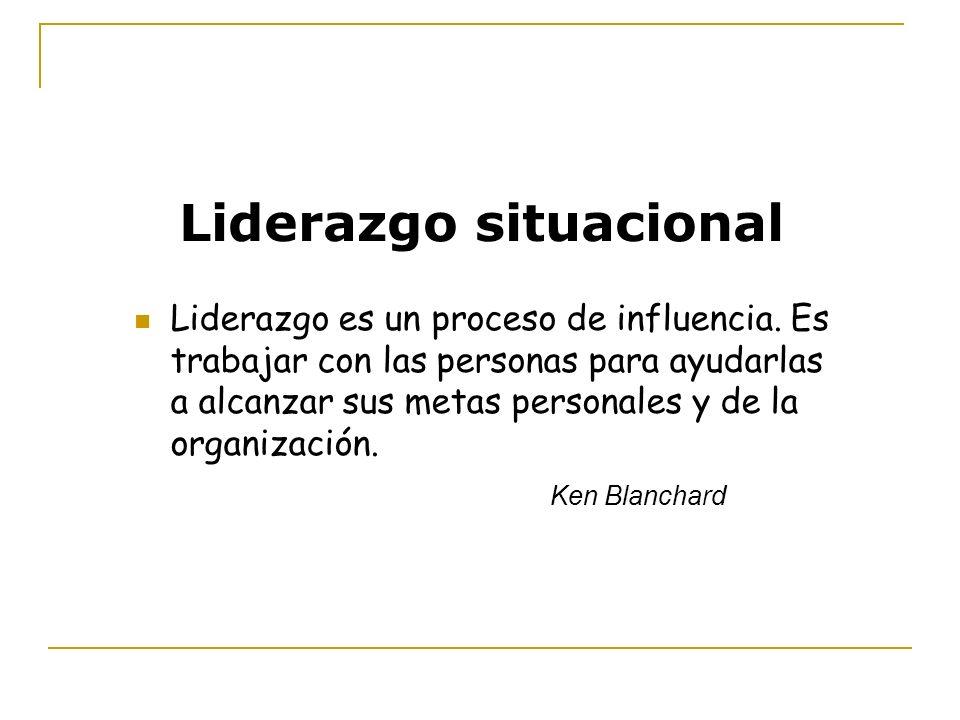 Liderazgo situacional Liderazgo es un proceso de influencia. Es trabajar con las personas para ayudarlas a alcanzar sus metas personales y de la organ
