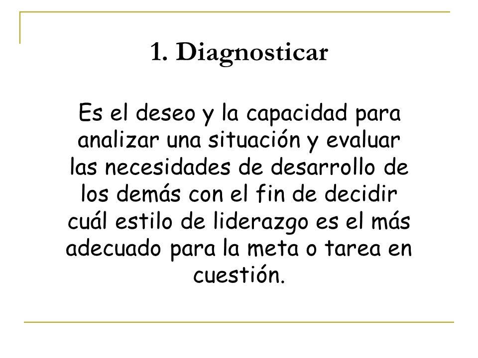 1. Diagnosticar Es el deseo y la capacidad para analizar una situación y evaluar las necesidades de desarrollo de los demás con el fin de decidir cuál
