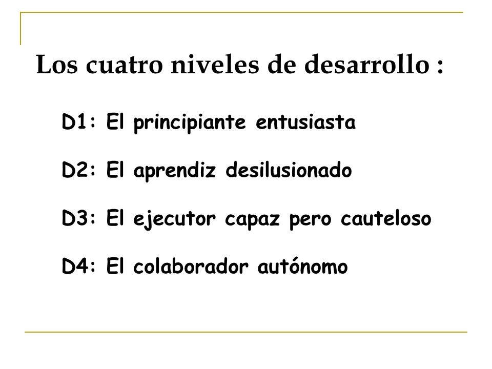 Los cuatro niveles de desarrollo : D1: El principiante entusiasta D2: El aprendiz desilusionado D3: El ejecutor capaz pero cauteloso D4: El colaborado