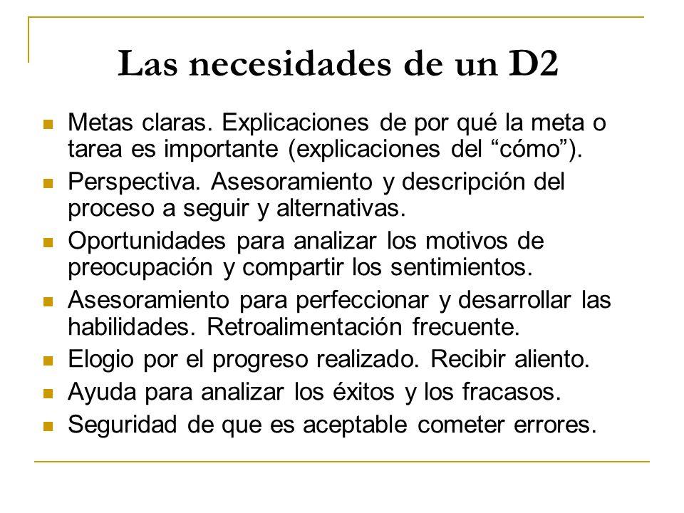Las necesidades de un D2 Metas claras. Explicaciones de por qué la meta o tarea es importante (explicaciones del cómo). Perspectiva. Asesoramiento y d