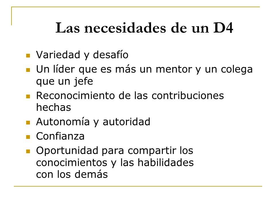 Las necesidades de un D4 Variedad y desafío Un líder que es más un mentor y un colega que un jefe Reconocimiento de las contribuciones hechas Autonomí