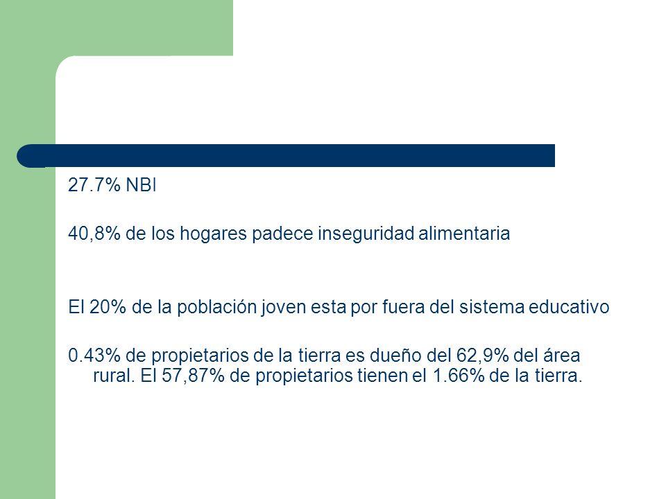 27.7% NBI 40,8% de los hogares padece inseguridad alimentaria El 20% de la población joven esta por fuera del sistema educativo 0.43% de propietarios de la tierra es dueño del 62,9% del área rural.