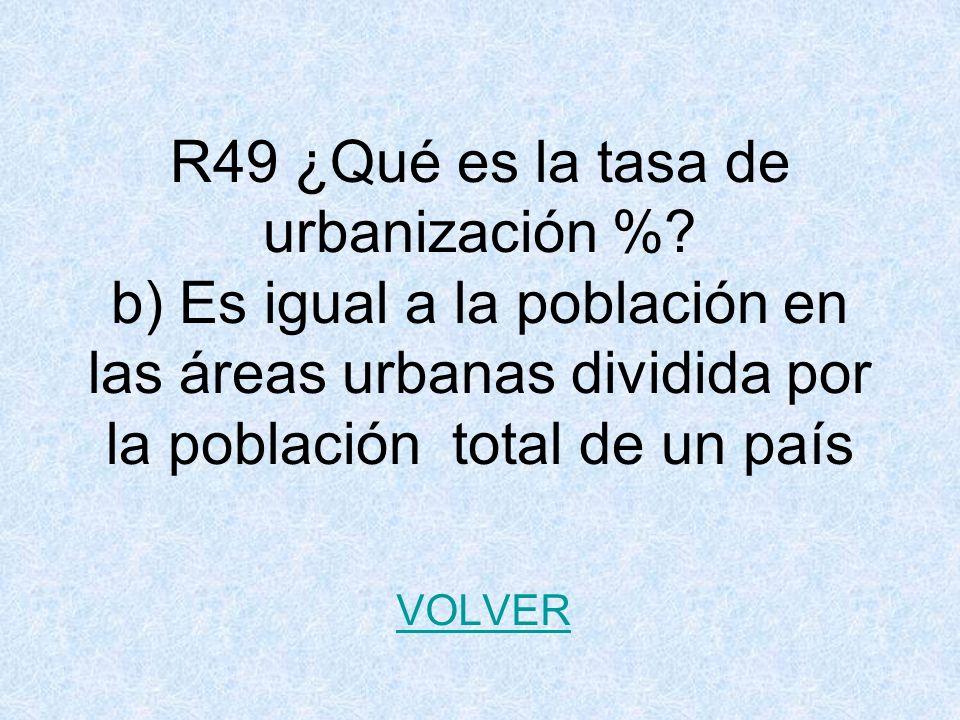 R49 ¿Qué es la tasa de urbanización %.