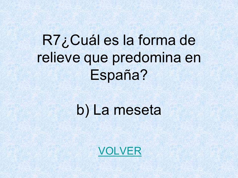 R7¿Cuál es la forma de relieve que predomina en España? b) La meseta VOLVER