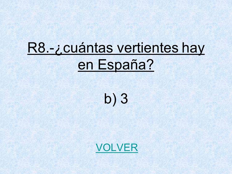 R8.-¿cuántas vertientes hay en España? b) 3 VOLVER