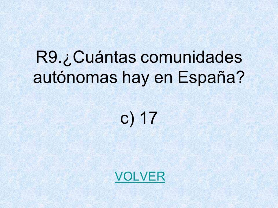 R9.¿Cuántas comunidades autónomas hay en España? c) 17 VOLVER